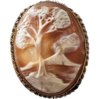 Antique Shell Cameo Brooch/Pendant of Volcano and Olive Tree