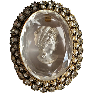 Reverse Carved Glass Cameo Brooch with Rhinestones & Faux Pearls