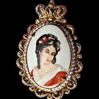 Florenza Hand-Painted Limoges Pendant
