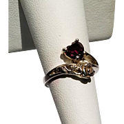 Sterling Rose and Garnet Heart Ring