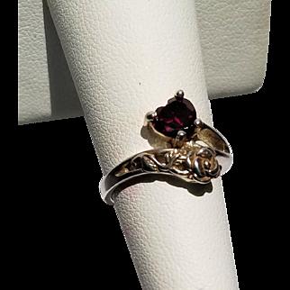 Sterling Rose and Garnet Heart Ring