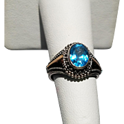 Sterling and 18K London Blue Topaz Ring