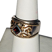 Sterling and 10K Byzantine Style Ring with Garnet