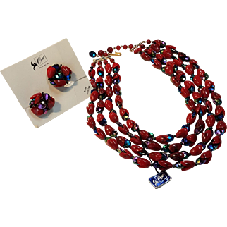 Red and Peacock/Iridescent Stone Pegasus Corocraft Demi Parure, Tags