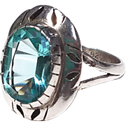 Sterling and Blue Topaz Ring, Southwest Styling