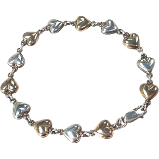 Sterling Silver and Gold Washed Linked Hearts Bracelet