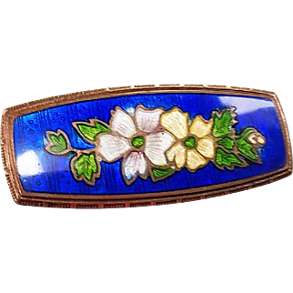 Enamel Bar Pin with Flowers, Victorian/Edwardian Era (35)
