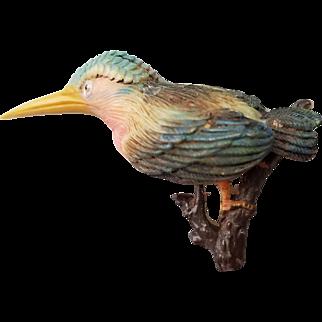 Celluloid Kingfisher or Hummingbird Pin