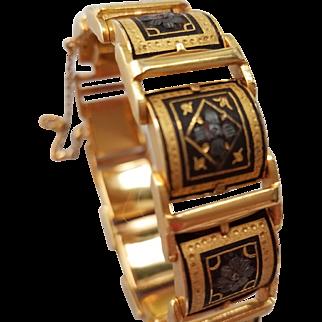 Genuine Damascene Link Bracelet with Arabesque Design