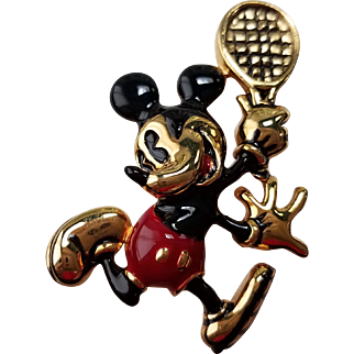Napier Mickey Mouse Tennis Player Brooch for Disney & Co.