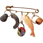 Large Mid-Century Dangling Charm Pin