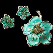 Fabulous Enamel and Rhinestone Flower Brooch and Earrings