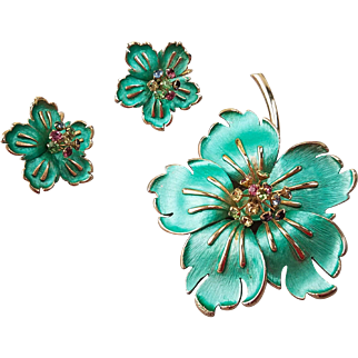 Fabulous Enamel and Rhinestone Flower Brooch and Earrings