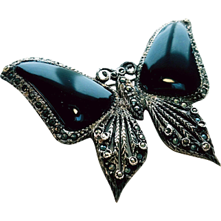 Sterling Marcasite and Black Onyx Butterfly Brooch