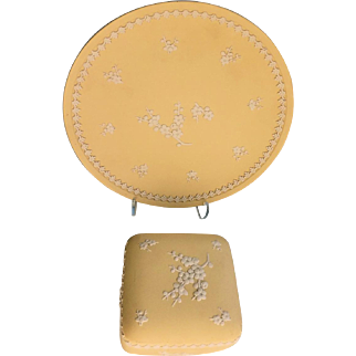 Wedgwood Primrose Yellow Trinket Box and Plate Jasperware