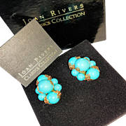 Turquoise Blue Joan Rivers Signed Clip-Back Earrings