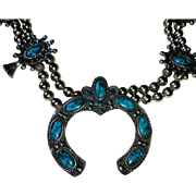 Squash Blossom Necklace with Faux Turquoise