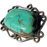 Organic Form Sterling and Turquoise Brooch/Pin, Taxco
