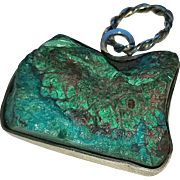Sterling Pendant with Natural Peruvian Turquoise - Chrysocolla