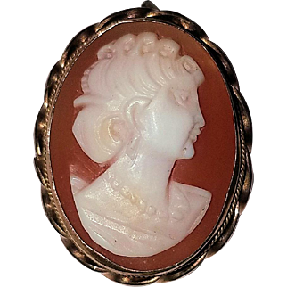 Gold-Plated 800 Silver Cameo Brooch/Pin and Pendant
