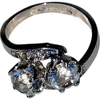 Dazzling Uncas Sterling and Clear Crystal Ring