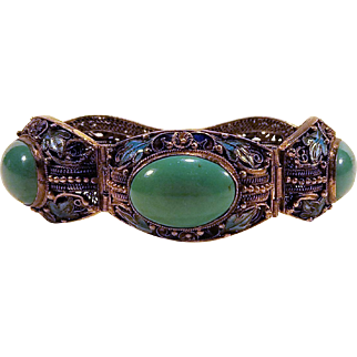 Persian Turquoise Enameled Chinese Export Silver Bracelet