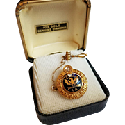 10K Gold Fraternal Order of Eagles (FOE)  Pin with Diamond
