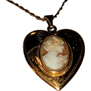 Victorian Heart Locket with Cameo 12K Gold-Filled