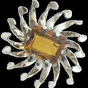 Sterling Gold Vermeil Pinwheel Retro Brooch Glass Citrine Stone