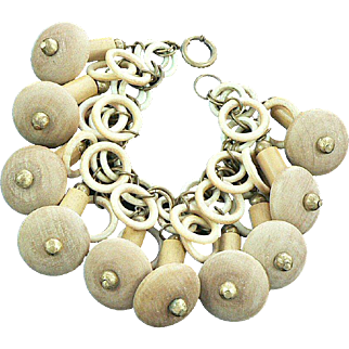 Celluloid Wood Brass Chacha Charm Bracelet Retro 1940s