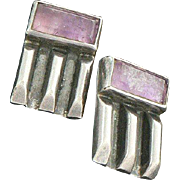 Pat Areias Amethyst Sterling Silver Mexican Earrings