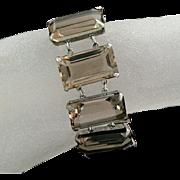 Smokey Quartz Sterling Silver Japanese Link Bracelet and Earrings Set