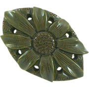 Giant Green Bakelite Carved and Pierce Marbled Sunflower Pin