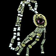 Art Deco Fantastic Bug Sautoir Necklace Celluloid Glass Faux Pearl