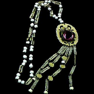Art Deco Sautoir Necklace Celluloid Glass Faux Pearl Fantastic Insect