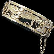 Egyptian Revival Rolled Gold Vintage Bracelet England
