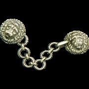 Antique Lion Silver Cloak or Cape Clasp England