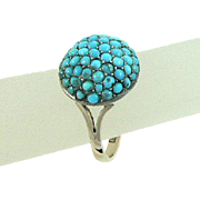 Pave Turquoise 9 Carat Gold and Silver Victorian Ring