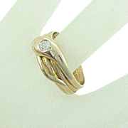 18K Snake Ring Diamond Full English Hallmarks 1900