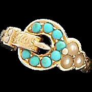 Turquoise Pearl Georgian 15K Gold Buckle Ring