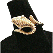14K Gold Cobra Snake Ring Diamond Eyes Germany Art Deco