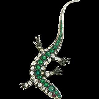 Magical Lizard Sterling Silver Paste Brooch
