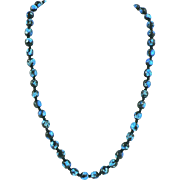 Venetian Silver Foiled Glass Bead Necklace