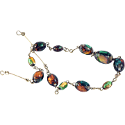 Opalescent Foiled Venetian Glass Bead Rolled Gold Necklace