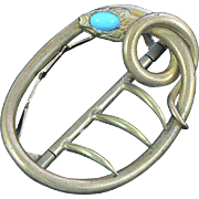 Snake Belt Buckle Victorian Solid Brass Turquoise Glass