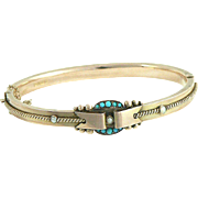 Victorian 9 Carat Gold Turquoise Seed Pearl Bangle Bracelet Full English Hallmarks