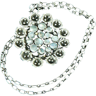 Arts and Crafts Moonstone Pendant Brooch on Silver Chain