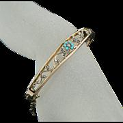 Edwardian 9 Carat Gold Turquoise Seed Pearl Bangle Bracelet