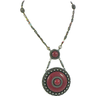 Art Deco Style Red Galalith and Metal Pendant Bead Necklace Sautoir