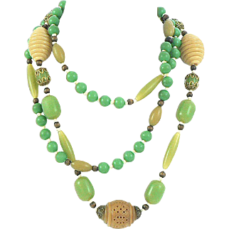 Art Deco Celluloid and Wood Bead Necklace